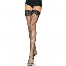 Leg Avenue Nr 16 Black Stay up lycra Fishnet Thigh Highs - One Size